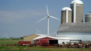Wind turbine near farm
